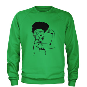 African American Rosie The Riveter Adult Crewneck Sweatshirt