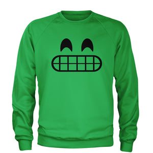 Emoticon Grinning Smile Face Adult Crewneck Sweatshirt