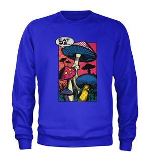 Eat Me Magic Mushrooms Comic Book Adult Crewneck Sweatshirt