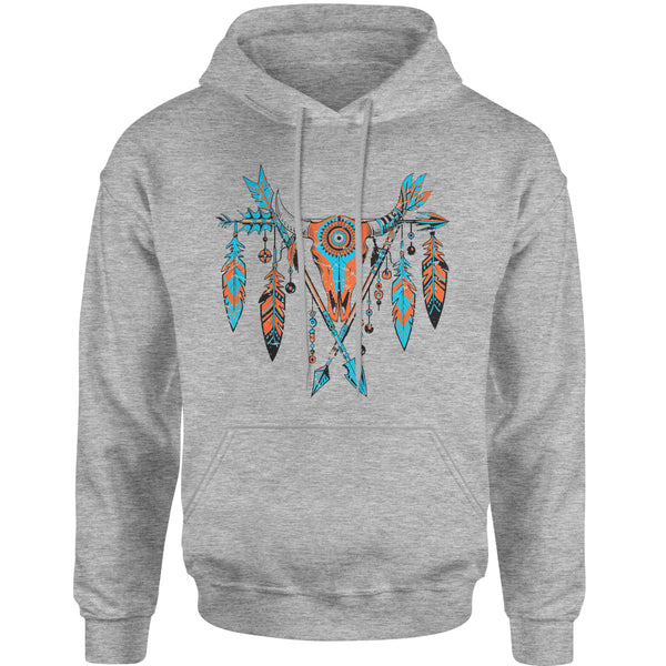 Native American Cattle Skull Southwest Adult Hoodie Sweatshirt