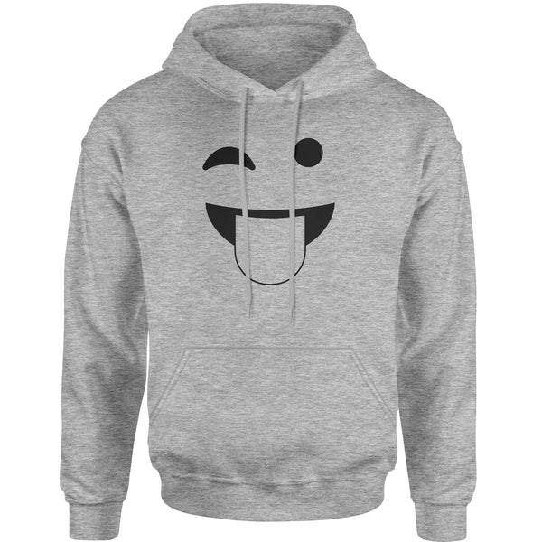 Emoticon Tongue Hanging Out Smile Face Adult Hoodie Sweatshirt