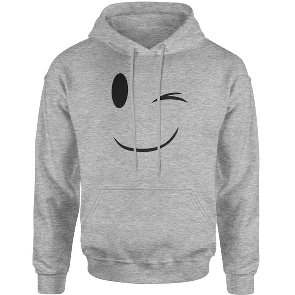 Emoticon Winking Smile Face Adult Hoodie Sweatshirt