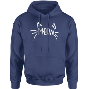 Meow Cute Face with Cat Whiskers Adult Hoodie Sweatshirt