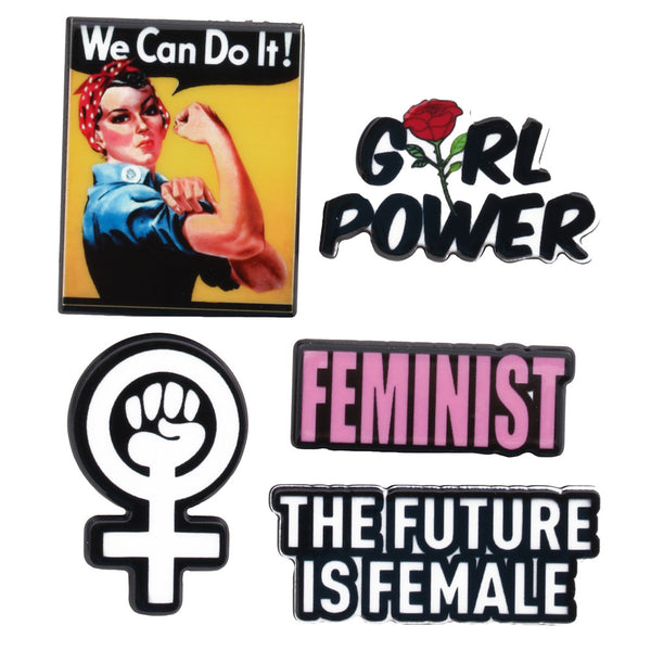 Feminist Girl Power 5-Pack of Lapel Pin Set