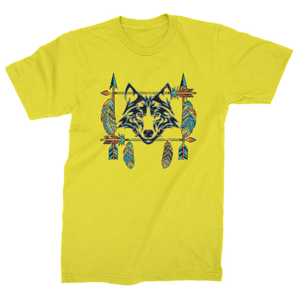 Native American Wolf And Feathers Southwest Mens T-shirt