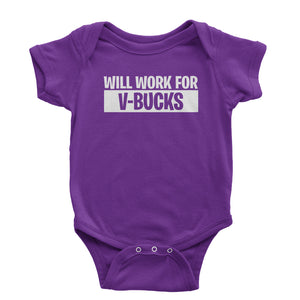Will Work For V-Bucks Infant One-Piece Romper Bodysuit
