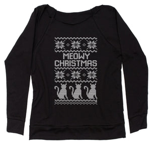 Meowy Christmas Ugly Christmas Sweater Slouchy Off Shoulder Sweatshirt