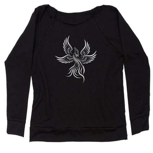 Phoenix Rising from the Ashes  Slouchy Off Shoulder Sweatshirt