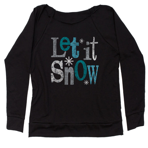 Let It Snow Slouchy Off Shoulder Sweatshirt