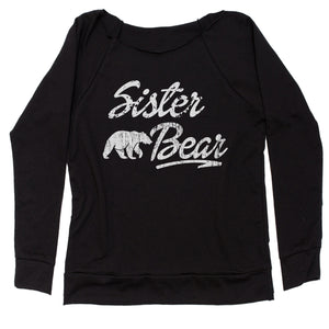 Sister Bear Cub Family  Slouchy Off Shoulder Oversized Sweatshirt