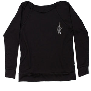 Embroidered Skeleton Middle Finger Patch (Pocket Print) Slouchy Off Shoulder Oversized Sweatshirt