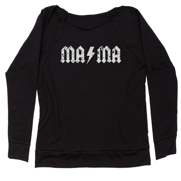 Mama Lightning Bolt Mother's Day Slouchy Off Shoulder Sweatshirt
