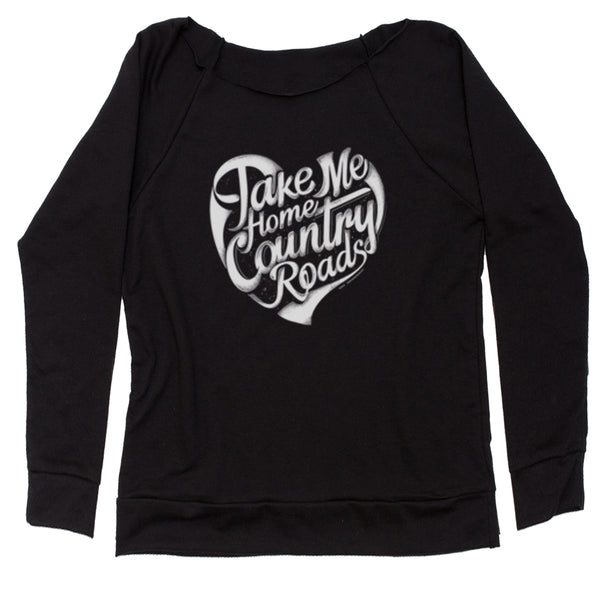 Take Me Home Country Roads Slouchy Off Shoulder Sweatshirt