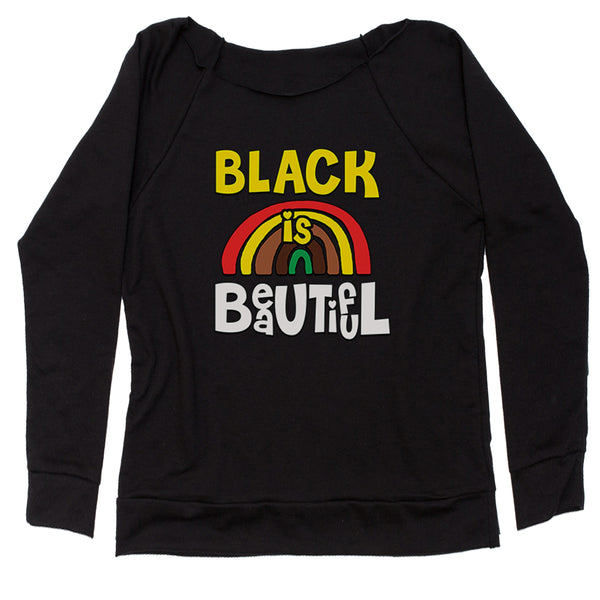 Black Is Beautiful Rainbow Slouchy Off Shoulder Oversized Sweatshirt