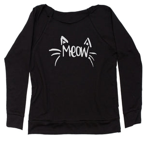 Meow Cute Face with Cat Whiskers Slouchy Off Shoulder Sweatshirt