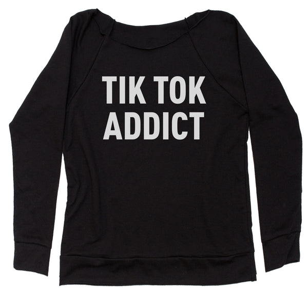 Addict Tik Tok Addict Slouchy Off Shoulder Sweatshirt