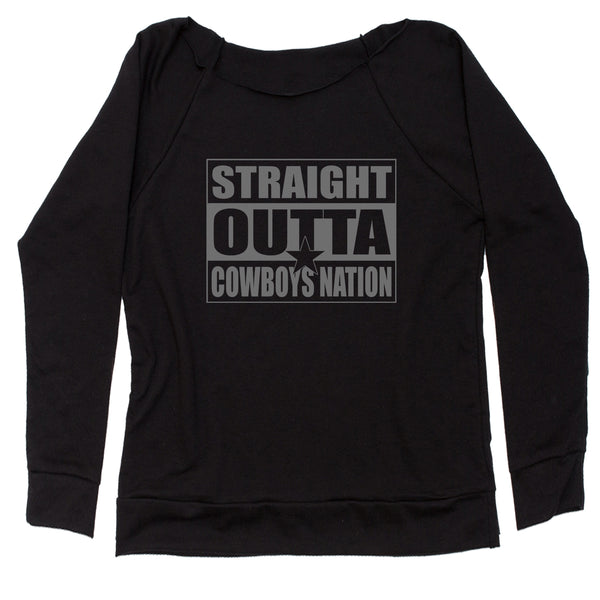 Straight Outta Cowboys Nation Football  Slouchy Off Shoulder Oversized Sweatshirt