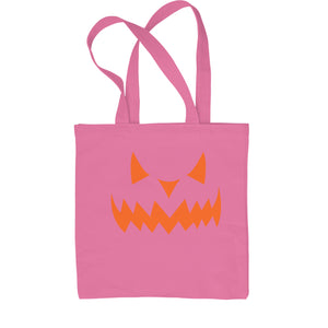 Evil Pumpkin Face (Orange Print) Shopping Tote Bag