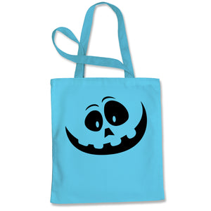 Silly Pumpkin Face (Black Print) Shopping Tote Bag