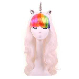 Unicorn Wig With Glitter Horn and Ears - White With Rainbow Bangs - Style #8