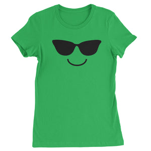 Emoticon Sunglasses Smile Face Womens T-shirt