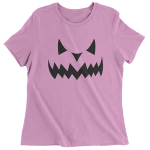 Evil Pumpkin Face (Black Print) Womens T-shirt