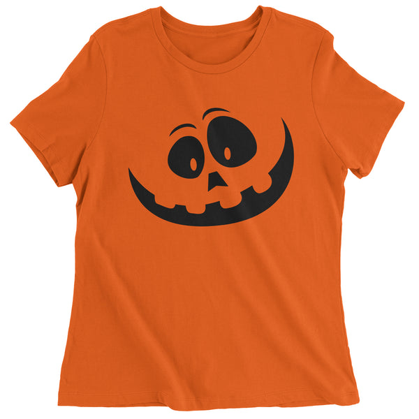 Silly Pumpkin Face (Black Print) Womens T-shirt
