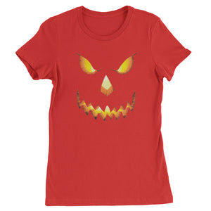 Jack-O-Lantern Glowing Pumpkin Face Halloween Womens T-shirt