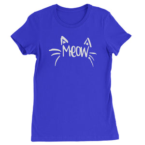 Meow Cute Face with Cat Whiskers Womens T-shirt