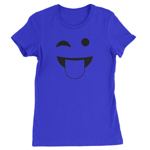 Emoticon Tongue Hanging Out Smile Face Womens T-shirt