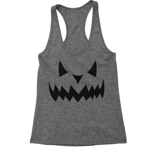 Evil Pumpkin Face (Black Print) Racerback Tank Top for Women