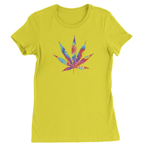Tie Dye Pot Leaf Womens T-shirt