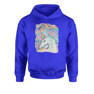 Rainbow Unicorn with Glitter Accents Youth-Sized Hoodie