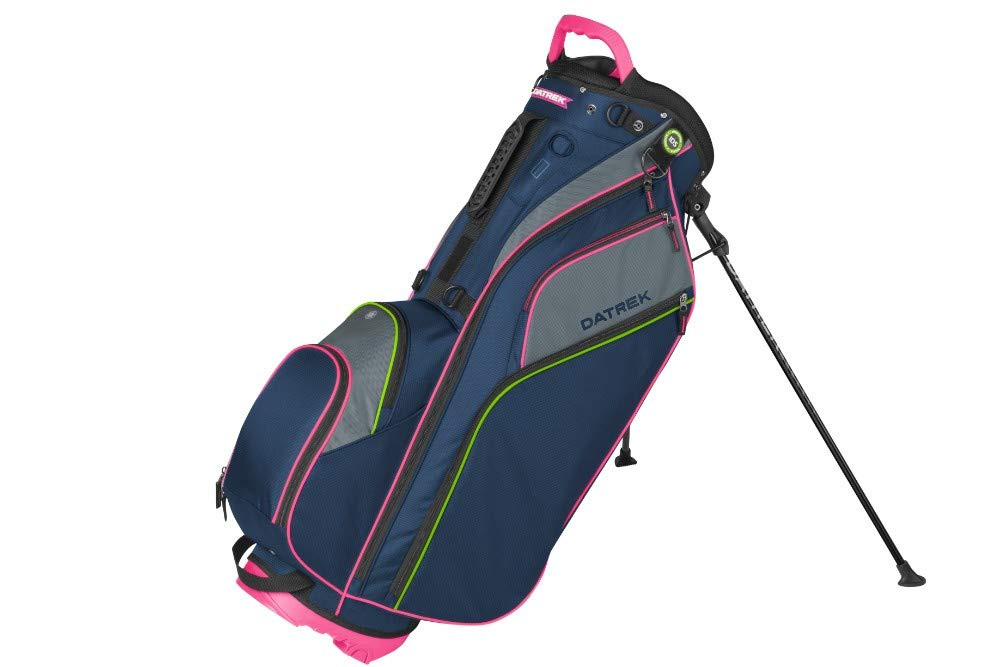 Datrek Go Lite Hybrid Stand Bag Navy Pink Lime 14 Way Top Full Length IDS