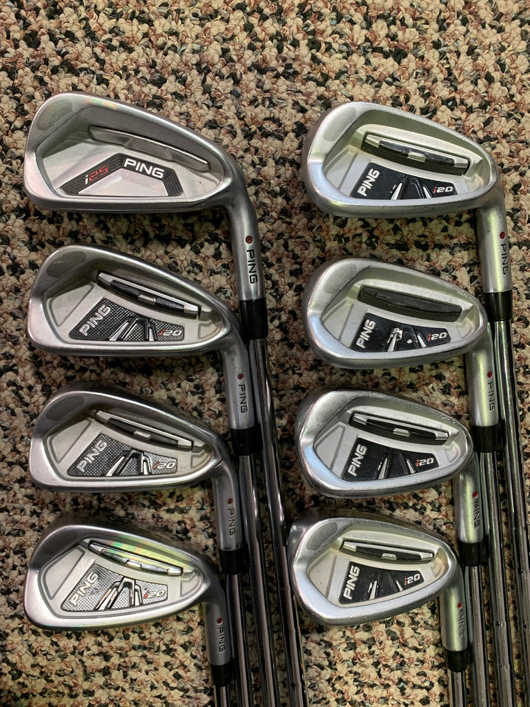 "Ping i20 Iron Set 5-PW, UW, SW +2"" CFS Stiff Flex Shafts Golf Pride CP2 Wrap Grips"
