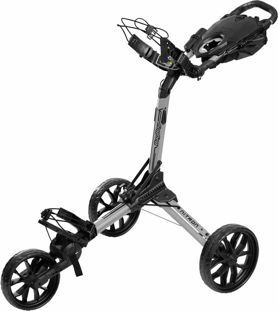 BagBoy Nitron 3 Wheel Push Cart Silver/Black One Step Open Top Lok Super Compact