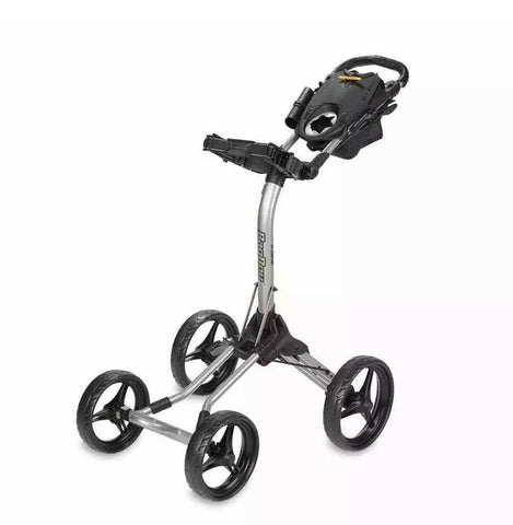 Bag Boy Quad XL Push Cart Silver/Black Top-Lok Handle Mounted Brake 2 Step Fold