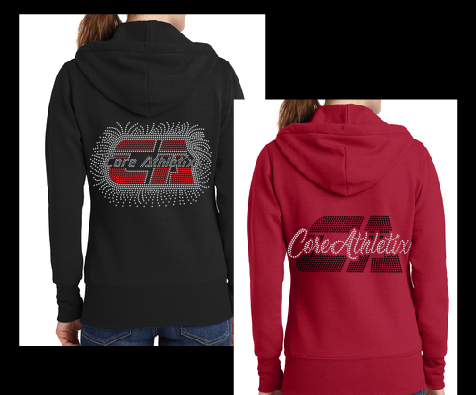 Ladies Bling Zip Up Hoodies