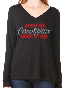 Ladies Long Sleeve Flowy V-Neck