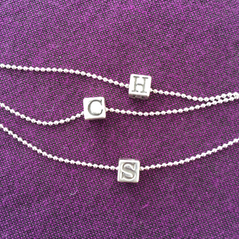 Block Letter Silver Monogram Necklace - Cloverleaf Jewelry