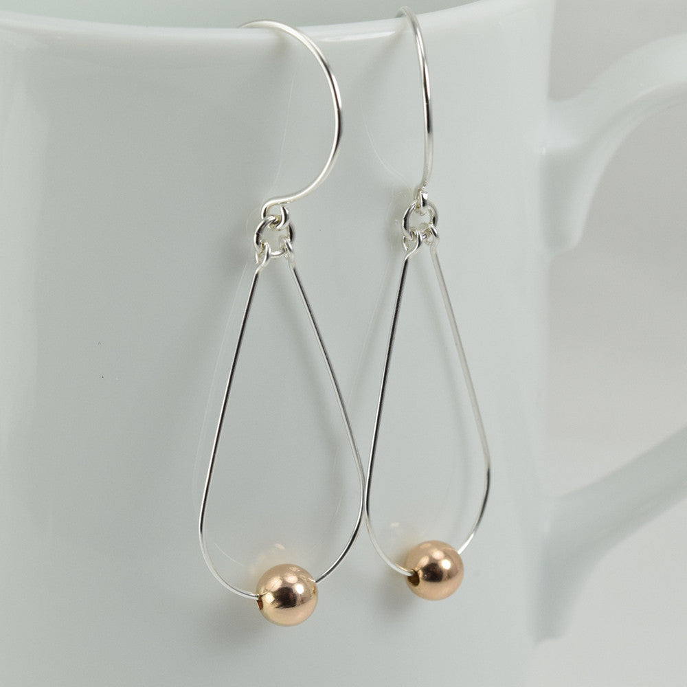 Diva Silver Earrings with Rose Gold