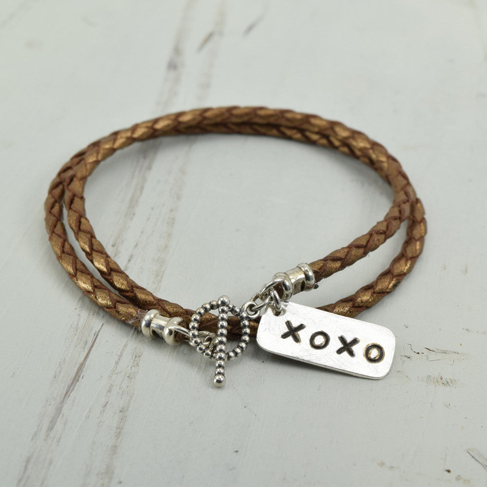 XOXO Silver Charm Leather Wrap Bracelet