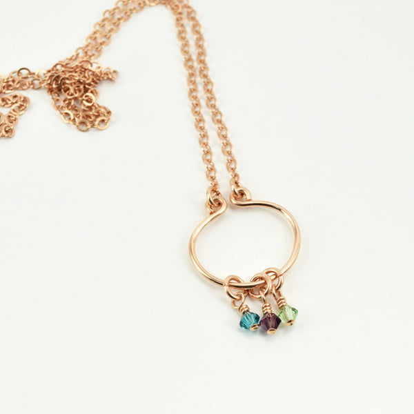 Lyre Rose Gold Birthstone Necklace, Small - Cloverleaf Jewelry