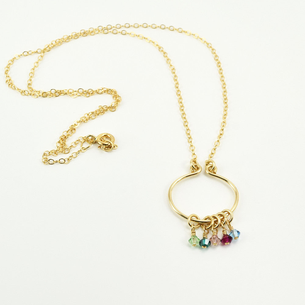 Lyre Gold Birthstone Necklace, Small