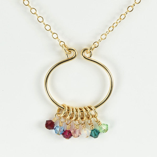 Lyre Gold Birthstone Necklace, Large