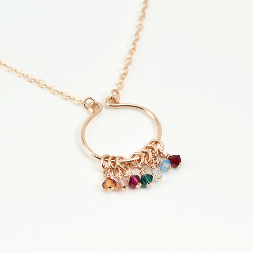 Lyre Rose Gold Birthstone Necklace, Large