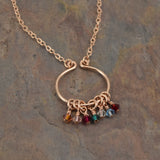 Lyre Rose Gold Birthstone Necklace, Large - Cloverleaf Jewelry