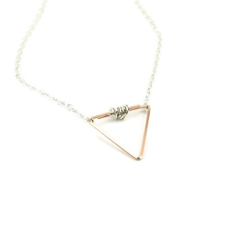 Balance Silver and Rose Gold Necklace - Cloverleaf Jewelry