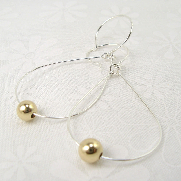 Diva Silver Earrings with Gold