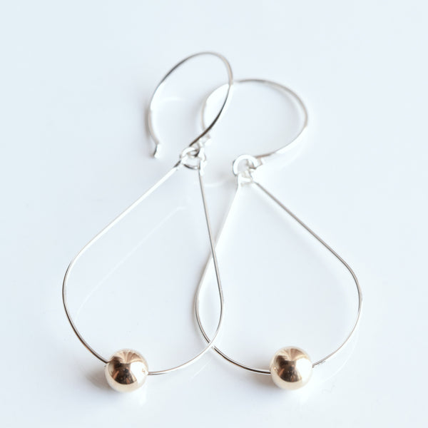 Diva Silver Earrings with Gold - Cloverleaf Jewelry